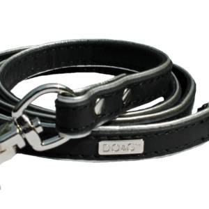Black and Silver leather lead