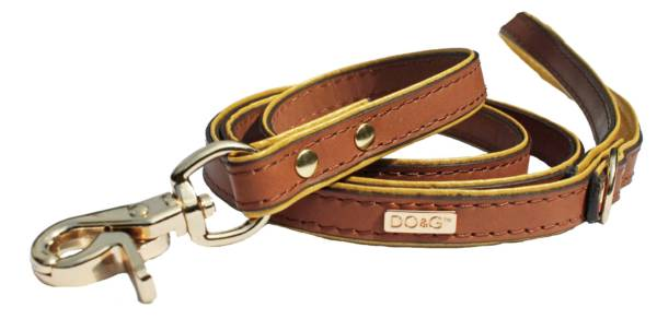 Gold brown leather lead DO&G