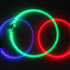 K9 B-Seen Blue Red Green glowing night collar